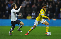 Leeds United's Tyler Roberts under pressure from Preston North End's Ben Pearson<br /> <br /> Photographer Kevin Barnes/CameraSport<br /> <br /> The EFL Sky Bet Championship - Preston North End v Leeds United -Tuesday 9th April 2019 - Deepdale Stadium - Preston<br /> <br /> World Copyright &copy; 2019 CameraSport. All rights reserved. 43 Linden Ave. Countesthorpe. Leicester. England. LE8 5PG - Tel: +44 (0) 116 277 4147 - admin@camerasport.com - www.camerasport.com