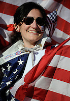 A female USA football fan. USA vs Slovenia in the 2010 FIFA World Cup at Ellis Park in Johannesburg, South Africa on June 18th, 2010.