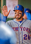 5 April 2018: New York Mets catcher Kevin Plawecki comes into the dugout after scoring against the Washington Nationals during the Nationals' Home Opener at Nationals Park in Washington, DC. The Mets defeated the Nationals 8-2 in the first game of their 3-game series. Mandatory Credit: Ed Wolfstein Photo *** RAW (NEF) Image File Available ***