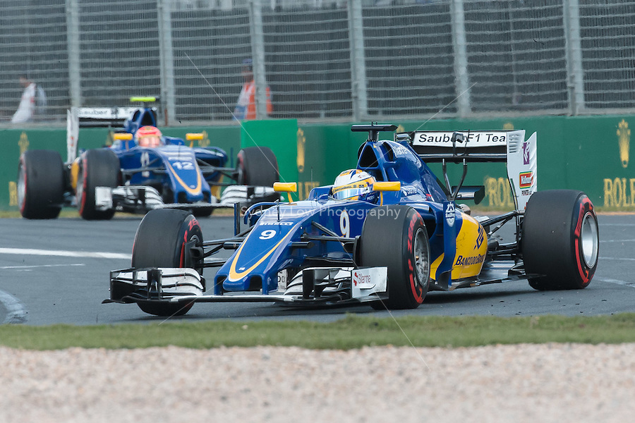 March 20, 2016: Marcus Ericsson (SWE) #9 from the Sauber F1 Team at turn one of the 2016 Australian Formula One Grand Prix at Albert Park, Melbourne, Australia. Photo Sydney Low