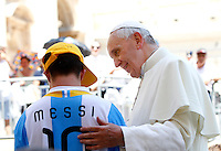 Papa Francesco accoglie sulla sua jeep Alberto Di Tullio, di Boiano, vicino Napoli, ragazzo di 17 anni affetto da sindrome di Down, al termine dell'udienza generale del mercoledi' in Piazza San Pietro, Citta' del Vaticano, 19 giugno 2013.<br /> Pope Francis greets Alberto Di Tullio, a 17-year-old boy with Down's Syndrome, from Boiano, near Naples, Italy, after welcoming him on his open-top car at the end of his weekly general audience in St. Peter's Square at the Vatican, 19 June 2013.<br /> UPDATE IMAGES PRESS/Riccardo De Luca<br /> <br /> STRICTLY ONLY FOR EDITORIAL USE