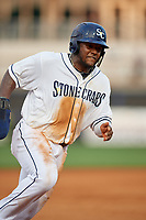 Charlotte Stone Crabs Moises Gomez (21) running the bases during a Florida State League game against the Fort Myers Miracle on April 6, 2019 at Charlotte Sports Park in Port Charlotte, Florida.  Fort Myers defeated Charlotte 7-4.  (Mike Janes/Four Seam Images)