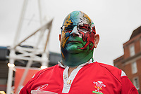 A Wales fan with elaborate face paint outside of the stadium<br /> <br /> Photographer Simon King/CameraSport<br /> <br /> International Rugby Union - 2017 Under Armour Series Autumn Internationals - Wales v Australia - Saturday 11th November 2017 - Principality Stadium - Cardiff<br /> <br /> World Copyright &copy; 2017 CameraSport. All rights reserved. 43 Linden Ave. Countesthorpe. Leicester. England. LE8 5PG - Tel: +44 (0) 116 277 4147 - admin@camerasport.com - www.camerasport.com