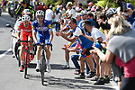 Maximilian Schachmann (GER) Quick-Step Floors and Mattia Cattaneo (ITA) Androni Giocattoli-Sidermec from the breakaway group battle it out approaching the end of Stage 18 of the 2018 Giro d'Italia, running 196km from Abbiategrasso to Prato Nevoso, Italy. 24th May 2018.<br /> Picture: LaPresse/Fabio Ferrari | Cyclefile<br /> <br /> <br /> All photos usage must carry mandatory copyright credit (&copy; Cyclefile | LaPresse/Fabio Ferrari)