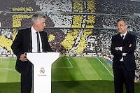 Real Madrid's new coach Carlo Ancelotti with the President Florentino Perez during his official presentation.June 26, 2013. (ALTERPHOTOS/Acero) .<br />