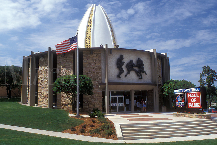 Ohio, Canton, football, hall of fame, The Pro Football Hall of Fame building in Canton. The American flag flies outside.