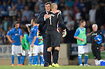 St Johnstone v FC Luzern...24.07.14  Europa League 2nd Round Qualifier<br /> Tommy Wright hugs Alan Mannus prior to the penalty shoot out<br /> Picture by Graeme Hart.<br /> Copyright Perthshire Picture Agency<br /> Tel: 01738 623350  Mobile: 07990 594431