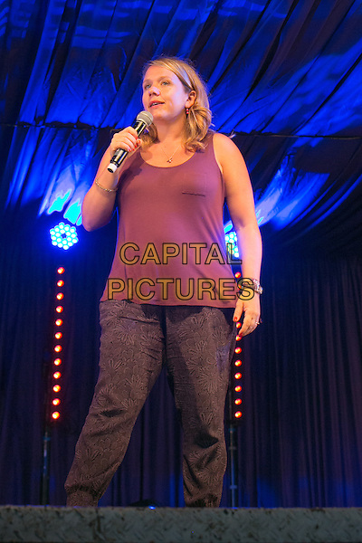 20th July 2014: English comedian and star of Ricky Gervais&rsquo; Derek, Kerry Godliman, plays the Comedy Arena on the fourth day of the 9th edition of the Latitude Festival, Henham Park, Suffolk.<br /> CAP/PP/HOG<br /> &copy; HOG/PP/Capital Pictures