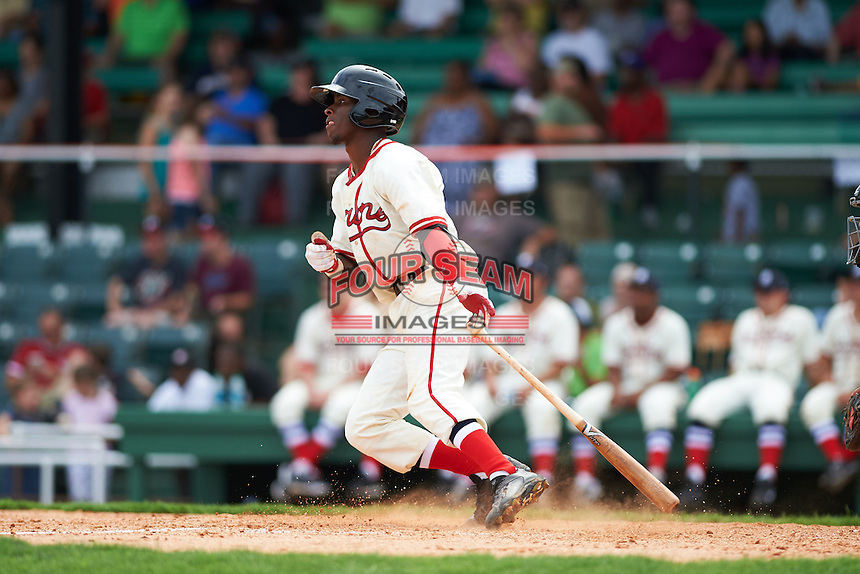 Birmingham Barons shortstop Tim Anderson (7) at bat during the 20th Annual Rickwood Classic Game against the Jacksonville Suns on May 27, 2015 at Rickwood Field in Birmingham, Alabama.  Jacksonville defeated Birmingham by the score of 8-2 at the countries oldest ballpark, Rickwood opened in 1910 and has been most notably the home of the Birmingham Barons of the Southern League and Birmingham Black Barons of the Negro League.  (Mike Janes/Four Seam Images)