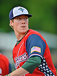 4 July 2012: Vermont Lake Monsters pitcher Austin House in the bullpen during a game against the Hudson Valley Renegades at Centennial Field in Burlington, Vermont. The Lake Monsters edged out the Renegades the Cyclones 2-1 in NY Penn League action. Mandatory Credit: Ed Wolfstein Photo