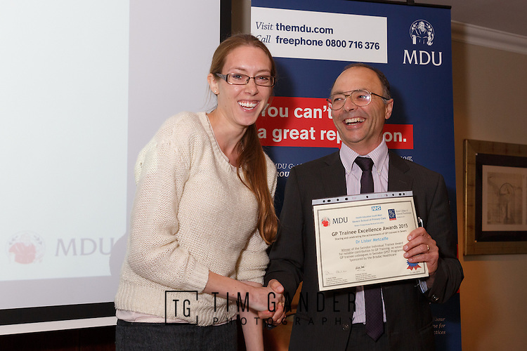 22/07/2015 GP Trainee Awards and Michael Lennard Reception 2015 hosted at The Holiday Inn, Filton, Bristol, by MDU. Dr Lister Metcalfe (not in this photo)  Award received on Dr Metcalfe's behalf by Dr Sarah Davis, presented by Dr Ray Montague, chairman of Brisdoc.