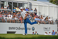 Jon Rahm (ESP) chips on to 18 during Rd4 of the 2019 BMW Championship, Medinah Golf Club, Chicago, Illinois, USA. 8/18/2019.<br /> Picture Ken Murray / Golffile.ie<br /> <br /> All photo usage must carry mandatory copyright credit (© Golffile | Ken Murray)