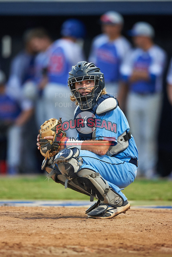 SCF Manatees catcher Reilly Johnson (19) looks to the dugout during a game against the College of Central Florida Patriots on February 8, 2017 at Robert C. Wynn Field in Bradenton, Florida.  SCF defeated Central Florida 6-5 in eleven innings.  (Mike Janes/Four Seam Images)