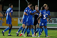 GOAL - Michael Folivi of AFC Wimbledon during the The Leasing.com Trophy match between AFC Wimbledon and Leyton Orient at the Cherry Red Records Stadium, Kingston, England on 8 October 2019. Photo by Carlton Myrie / PRiME Media Images.