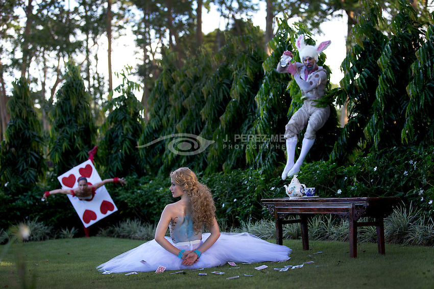 CoDa 21's Alice in Wonderland promotional photo session in Hacienda Don Carmelo, Vega Baja, PR