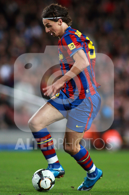 Football Season 2009-2010. Barcelona's player Zlatan Ibrahimovic during the Spanish first division soccer match at Camp Nou stadium in Barcelona November 07, 2009.