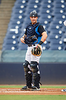 Tampa Tarpons catcher Keith Skinner (10) during the first game of a doubleheader against the Lakeland Flying Tigers on May 31, 2018 at George M. Steinbrenner Field in Tampa, Florida.  Tampa defeated Lakeland 3-0.  (Mike Janes/Four Seam Images)