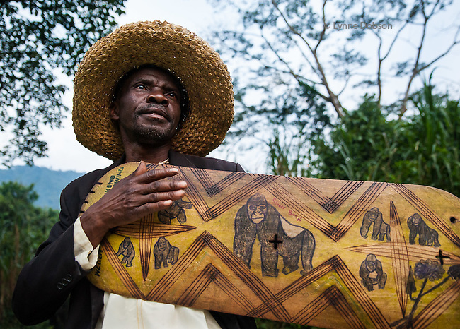Bwindi, Western Uganda. Warren played his hand-made adungu harp in a beautiful lodge in the rainforest, where the mountain gorillas are revered and have become a main draw for tourists from all over the world.