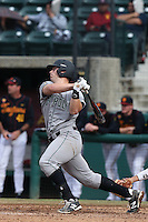 Brian Mundell #16 of the Cal Poly Mustangs bats against the USC Trojans at Dedeaux Field on March 2, 2014 in Los Angeles, California. Cal Poly defeated USC, 5-1. (Larry Goren/Four Seam Images)