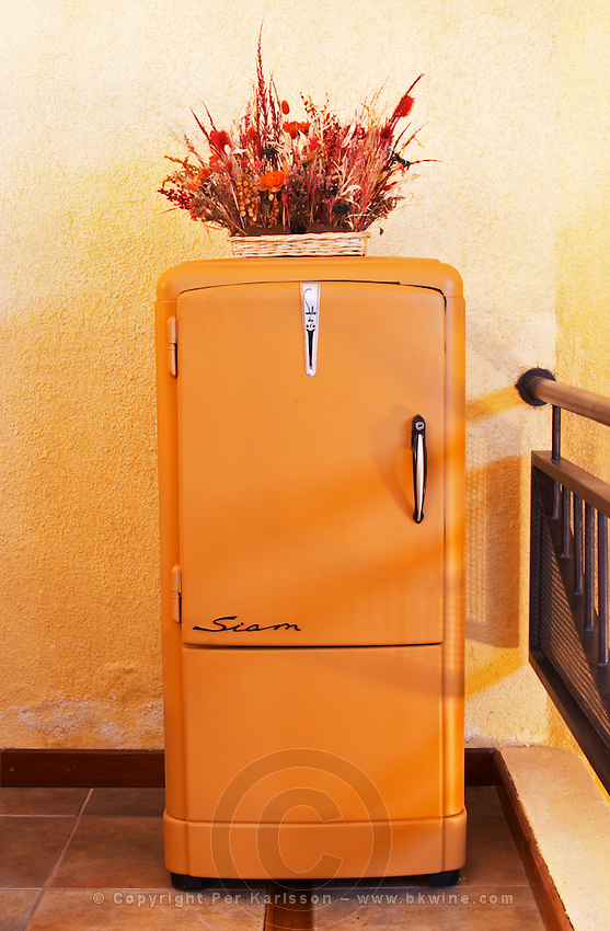 A classic design Siam Sello de Oro Gold Seal refrigerator fridge 1950s 1950 50s 50 design Bodega Del Anelo Winery, also called Finca Roja, Anelo Region, Neuquen, Patagonia, Argentina, South America