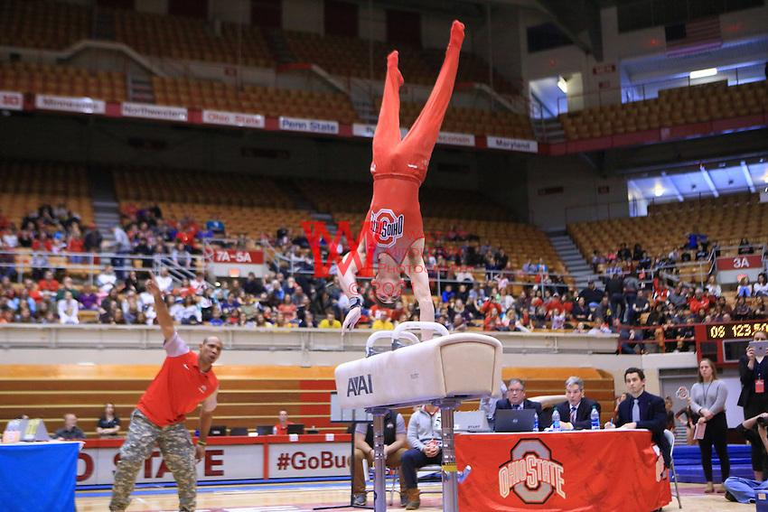 The Ohio State University men's gymnastics team defeat Michigan inside St. John Arena. February 4, 2017.<br /> (Photo by Walt Middleton 2017)