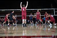 STANFORD, CA - March 3, 2018: Eric Beatty, Evan Enriques, Kevin Rakestraw, Jaylen Jasper, Mason Tufuga at Maples Pavilion. The Stanford Cardinal lost to Pepperdine, 3-0.