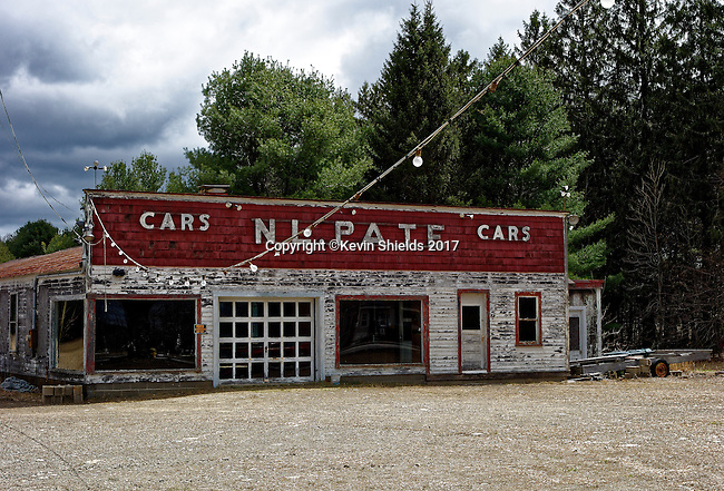 N. L. Pate, vacant car dealer's lot in Biddeford, Maine, USA