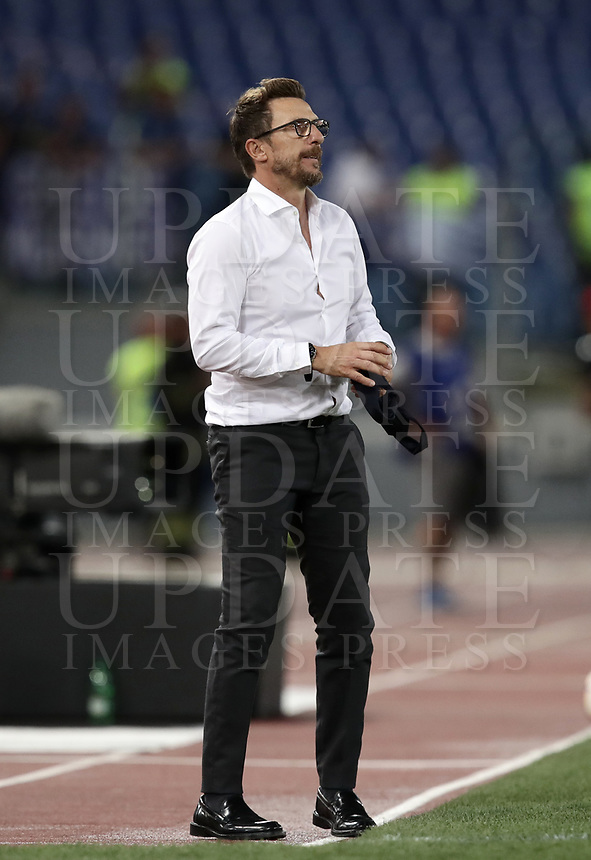 Calcio, Serie A: Roma - Atalanta, Stadio Olimpico, 27 agosto, 2018.<br /> Roma's coach Eusebio Di Francesco looks on during the Italian Serie A football match between Roma and Atalanta at Roma's Stadio Olimpico, August 27, 2018.<br /> UPDATE IMAGES PRESS/Isabella Bonotto
