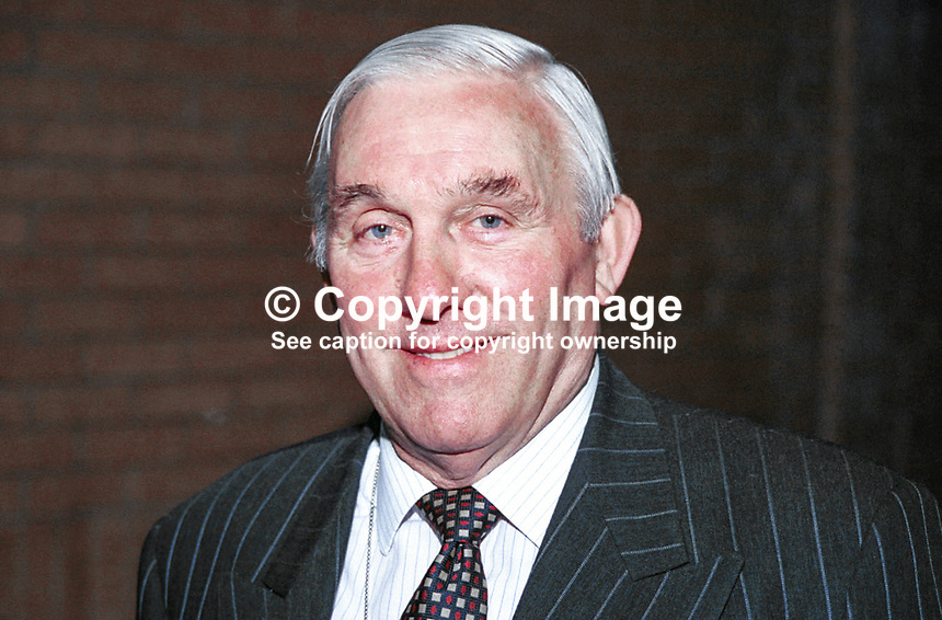 Jack Aspinwall, Conservative MP, Britain. Photograph taken at 1996 Conservative Party Conference in Bournemouth. Ref: 199610365.<br /> <br /> Copyright Image from Victor Patterson, 54 Dorchester Park, <br /> Belfast, UK, BT9 6RJ<br /> <br /> t1: +44 28 9066 1296 (from Rep of Ireland 048 9066 1296)<br /> t2: +44 28 9002 2446 (from Rep of Ireland 048 9002 2446)<br /> m: +44 7802 353836<br /> <br /> e: victorpatterson@me.com<br /> www.victorpatterson.com<br /> <br /> Please see my Terms and Conditions of Use at www.victorpatterson.com. It is IMPORTANT that you familiarise yourself with them.<br /> <br /> Images used on the Internet must be visibly watermarked i.e. &copy; Victor Patterson<br /> within the body of the image and copyright metadata must not be deleted. Images <br /> used on the Internet have a size restriction of 4kbs and will be chargeable at current<br />  NUJ rates unless agreed otherwise.<br /> <br /> This image is only available for the use of the download recipient i.e. television station, newspaper, magazine, book publisher, etc, and must not be passed on to any third <br /> party. It is also downloaded on condition that each and every usage is notified within 7 days to victorpatterson@me.com<br /> <br /> The right of Victor Patterson to be identified as the author is asserted in accordance with The Copyright Designs And Patents Act (1988). All moral rights are asserted.