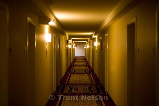 hotel hallway.Sunday April 19, 2009 in Los Angeles.