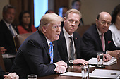 United States President Donald Trump speaks during a cabinet meeting in the Cabinet Room of the White House, July 18, 2018 in Washington, DC. <br /> Credit: Olivier Douliery / Pool via CNP