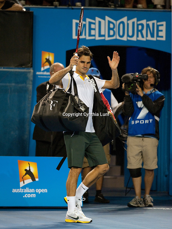 January 27, 2011.Roger Federer of Switzerland, in action, during his semi-final loss to Novak Djokovic of Serbia at the Australian Open,Rod Laver Stadium, Melbourne Park, Melbourne, Australia.