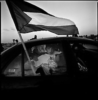khan Younes, Gaza strip, Sept 13 2005.Palestinians celebrate the end of the Israeli occupation.