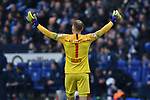 16.03.2019, VELTINS-Arena, Gelsenkirchen, GER, DFL, 1. BL, FC Schalke 04 vs RB Leipzig, DFL regulations prohibit any use of photographs as image sequences and/or quasi-video<br /> <br /> im Bild Peter Gulacsi (#1, RB Leipzig) jubelt nach dem Schlusspfiff<br /> <br /> Foto © nph/Mauelshagen