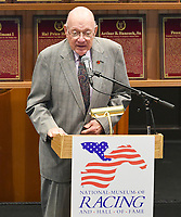 Scenes from the National Museum of Racing Hall of Fame ceremony (Edward Bowen) on August 03, 2018 at the Fasig-Tipton Sales Pavilion in Saratoga Springs, New York. (Bob Mayberger/Eclipse Sportswire)