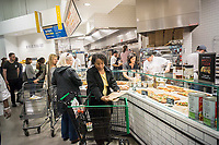 Prepared food in the new Whole Foods Market in Newark, NJ on opening day Wednesday, March 1, 2017. The store is the chain's 17th store to open in New Jersey. The 29,000 square foot store located in the redeveloped former Hahne & Co. department store building is seen as a harbinger of the revitalization of Newark which never fully recovered from the riots in the 1960's.  (© Richard B. Levine)