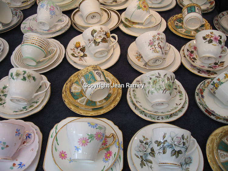 A Spot of Tea.  Teacups at the eclectic Portobello Market Road market.