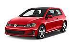 2015 Volkswagen GTI DSG 2 Door Hatchback Angular Front stock photos of front three quarter view