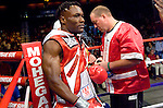 Uncasville, CT:  Lovemore N'Dou  in the ring before his  IBF Junior Welterweight Championship fight  against Paulie Malignaggi at the Mohegan Sun Casino, June 16th, 2007. Malignaggi won the belt from N'Dou by unanimous decision.. Photo by Thierry Gourjon.