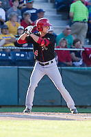 Lane Thomas (4) of the Vancouver Canadians at bat during a game against the Everett Aquasox at Everett Memorial Stadium in Everett, Washington on July 16, 2015.  Vancouver defeated Everett 5-4. (Ronnie Allen/Four Seam Images)
