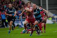 Saturday 10 May 2014<br /> Pictured: Rhodri Williams Makes his Way through the blues defence <br /> Re: Scarlets v Blues Rabo Direct Pro 12 Rugby Union Match at Parc y Scarlets, Llanelli, Wales