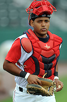 Lowell Spinners catcher Oscar Perez #24 prior to a game versus the State College Spikes at LeLacheur Park in Lowell, Massachusetts on July 29, 2012. (Ken Babbitt/Four Seam Images)