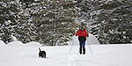 A man cross country skis with his dog, Tuesday, Dec. 21, 2010, on the trails at Pickett's Junction in Hope Valley..Photo by Cathleen Allison