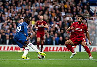 Fikayo Tomori of Chelsea and Mohamed Salah of Liverpool during the Premier League match between Chelsea and Liverpool at Stamford Bridge, London, England on 22 September 2019. Photo by Liam McAvoy / PRiME Media Images.
