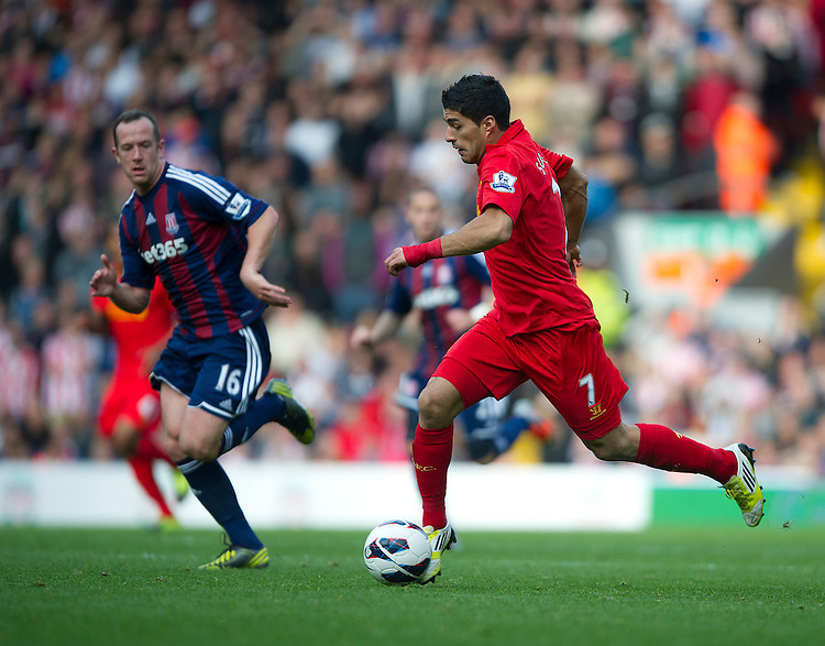 Liverpool's Luis Suarez ..Football - Barclays Premiership - Liverpool v Stoke City - Sunday 7th October 2012 - Anfield - Liverpool..