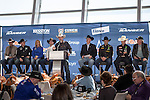 Cowboys and cowgirls at the press conference before the Iron Cowboy V event at the AT & T stadium in Arlington, Texas.