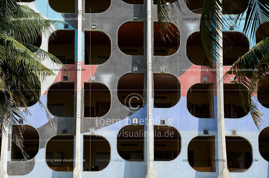 TOGO, Lome, abandoned Hotel de la Paix at Boulevard du Mono, built in 1970`íes, window front / verlassenenes Hotel des Friedens