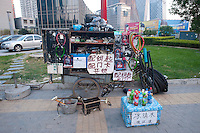 Daytime landscape view of a bicycle repair and supply mobile shop built on a cart on the Zhen Zhi Lu in Cháoyáng Q? in Beijing.  © LAN