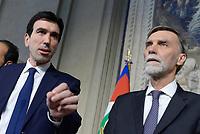 Roma, 12 Aprile 2018<br /> Partito Democratico<br /> Maurizio Martina, Graziano Delrio.<br /> Secondo giro di Consultazioni per la formazione del Governo