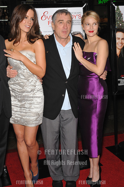 "Kate Beckinsale (left), Drew Barrymore & Robert De Niro at the world premiere of their new movie ""Everybody's Fine"" - part of the AFI Fest 2009 - at Grauman's Chinese Theatre, Hollywood..November 3, 2009  Los Angeles, CA.Picture: Paul Smith / Featureflash"